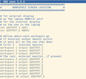 Screenshot of my workspace configuration in i3wm